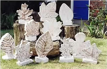 plaster cast leaf sculptures